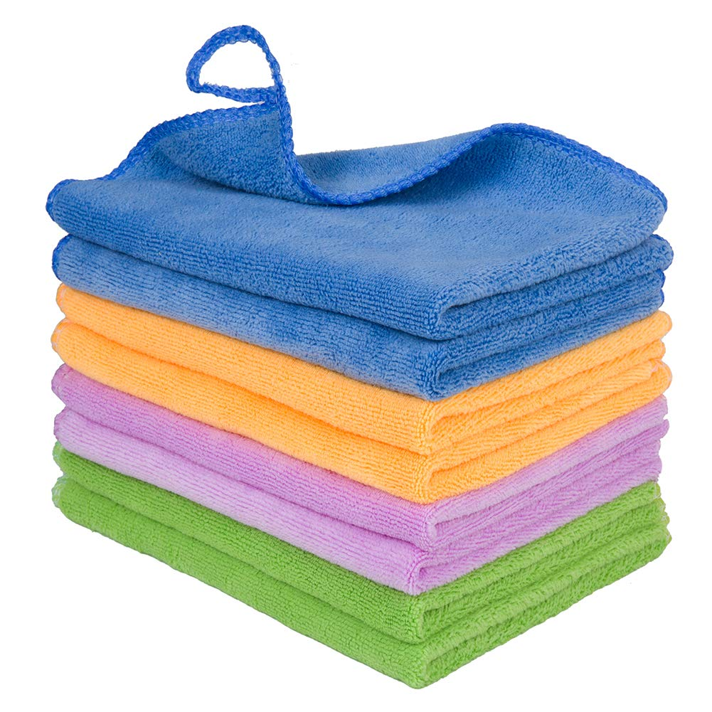 12PCS Premium Microfiber Cloth - Lint Free-Micro Fibers Towels for House, Kitchen, Car, Glass, Stainless Steel, Window, Microfiber Cleaning Cloth-Reusable-Absorbent, 2 Hooks as Gift