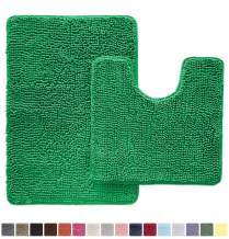 Gorilla Grip Original Shaggy Chenille 2 Piece Area Rug Set Includes Oval U-Shape Contoured Mat for Toilet and 30x20 Bathroom Rugs, Machine Wash Dry, Plush Mats for Tub, Shower and Bathroom, Emerald