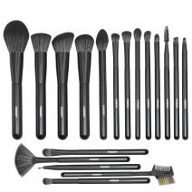 FIXBODY Makeup Brush Sets - 18PCS Wood Handle Soft Synthetic Fiber Hair Kabuki Powder Blush Liquid Eyeliner Eyeshadow Lip Eyebrow Brush (Black)