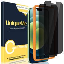 [2 Pack] UniqueMe Privacy Screen Protector Compatible with iPhone 12 Mini 5.4 inch Tempered Glass Screen Protector (5G) Anti Spy [Easy Installation Frame] HD Clear [Anti-Scratch] [Bubble Free]
