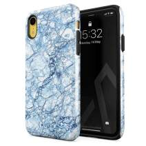 BURGA Phone Case Compatible with iPhone XR - Arctic Winter Blue Topaz Snow Frost Ice Marble Cute Case for Girls Heavy Duty Shockproof Dual Layer Hard Shell + Silicone Protective Cover