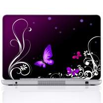Meffort Inc 15 15.6 Inch Laptop Notebook Skin Sticker Cover Art Decal (Included 2 Wrist pad) - Purple Butterfly Design