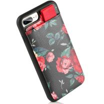 """LAMEEKU iPhone 7 Plus Wallet Case Floral, iPhone 8 Plus Flower Design Leather Case with Credit Card Holder Slot, Shockproof TPU Cover Compatible for Apple iPhone 7 Plus/ 8 Plus 5.5""""-Red Rose Flower"""
