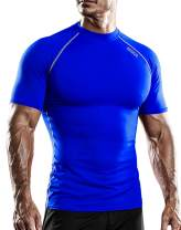 DRSKIN Men's Compression Cool Dry Sports Short Sleeve Shirt Baselayer T-Shirt Athletic Running Rashguard