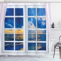 """Ambesonne Landscape Shower Curtain, Sunset on The Sea Scenery from Window with Open Curtains Horizon Silence Relaxing, Cloth Fabric Bathroom Decor Set with Hooks, 70"""" Long, White Blue"""