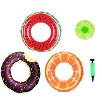 Sprigen Inflatable Swim Tube Raft (3 Packs) with Summer Fruits & Doughnut Painting ,Pool Toys for Swimming Pool Party Decorations