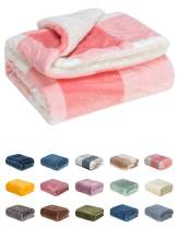 WONDER MIRACLE Fuzzy Sherpa Double Layers Super Thick and Warm Fleece Reversible Infant,Baby,Toddler,pet Blanket for Crib, Stroller, Travel, Couch and Bed (40Wx50L, S-Pink Grid)