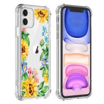 Hi Space Clear iPhone 11 Sunflower case 2019, Yellow Floral Girls and Women Back Cover, Transparent Flexible TPU Bumper Shockproof Protective Case