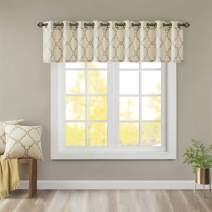Madison Park Saratoga Window Curtain Light Filtering Fretwork Print 1 Panel Grommet Top Drapes/Valance for Living Room Bedroom and Dorm, 50x18, Beige/Gold