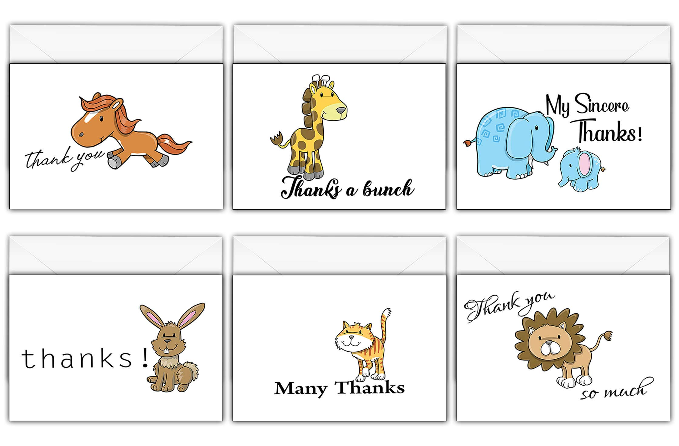 Creanoso Assorted Thank You Cards Pack (30-Pack) – Gift Card Cute Animal Themed Card Set – Cool Greeting Cards for Wedding, Baby Shower Gifts, Bridal Decoration, Birthdays, and Special Occasions