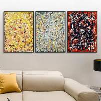 """INVIN ART Framed Canvas Giclee Print Art Combo Painting 3 Pieces by Jackson Pollock Wall Art Series#1 Living Room Home Office Decorations(Black Slim Frame,24""""x32""""Each Piece)"""