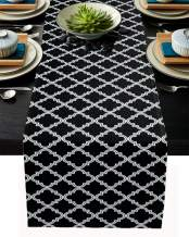 Moroccan Table Runner-Cotton linen-Small 36 inche Geometric Quatrefoil Lattice Dresser Scarves,Kitchen Coffee/Dining Farmhouse Tablerunner for Home Living Room,Holiday Dinner Scarf Décor,Black White