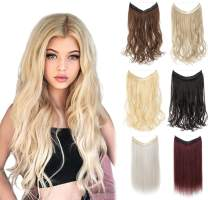 """XBwig Synthetic Hair Extensions 18 20 22 inches Straight Curly No Clips In Secret Invisible Wire Crown Wavy Hairpieces 100g(18"""" Natural Black Mix Dark Auburn)"""