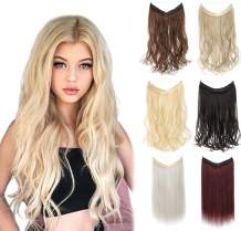 "XBwig Synthetic Hair Extensions 18 20 22 inches Straight Curly No Clips In Secret Invisible Wire Crown Wavy Hairpieces 100g(18"" Ash Blonde Mix Silver)"