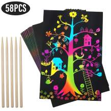 kockuu 58pcs Scratch Art Paper Set - Scratch Paper Black Doodle Pad for Drawing Writing DIY Kids and Adults Art Craft Project with 5 Wooden Stylus