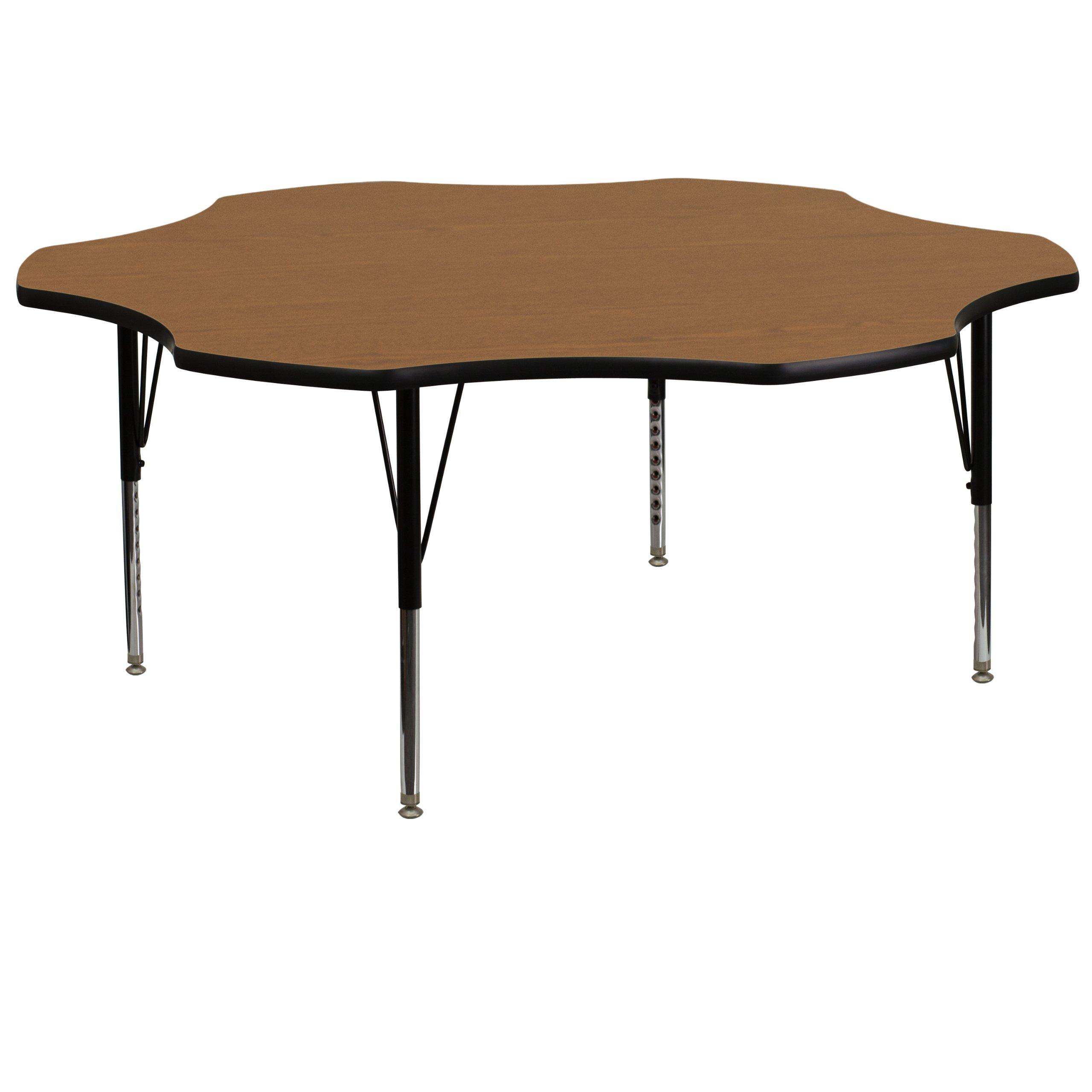 Flash Furniture 60'' Flower Oak Thermal Laminate Activity Table - Height Adjustable Short Legs