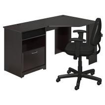 Bush Furniture Cabot Corner Desk and Office Chair in Espresso Oak