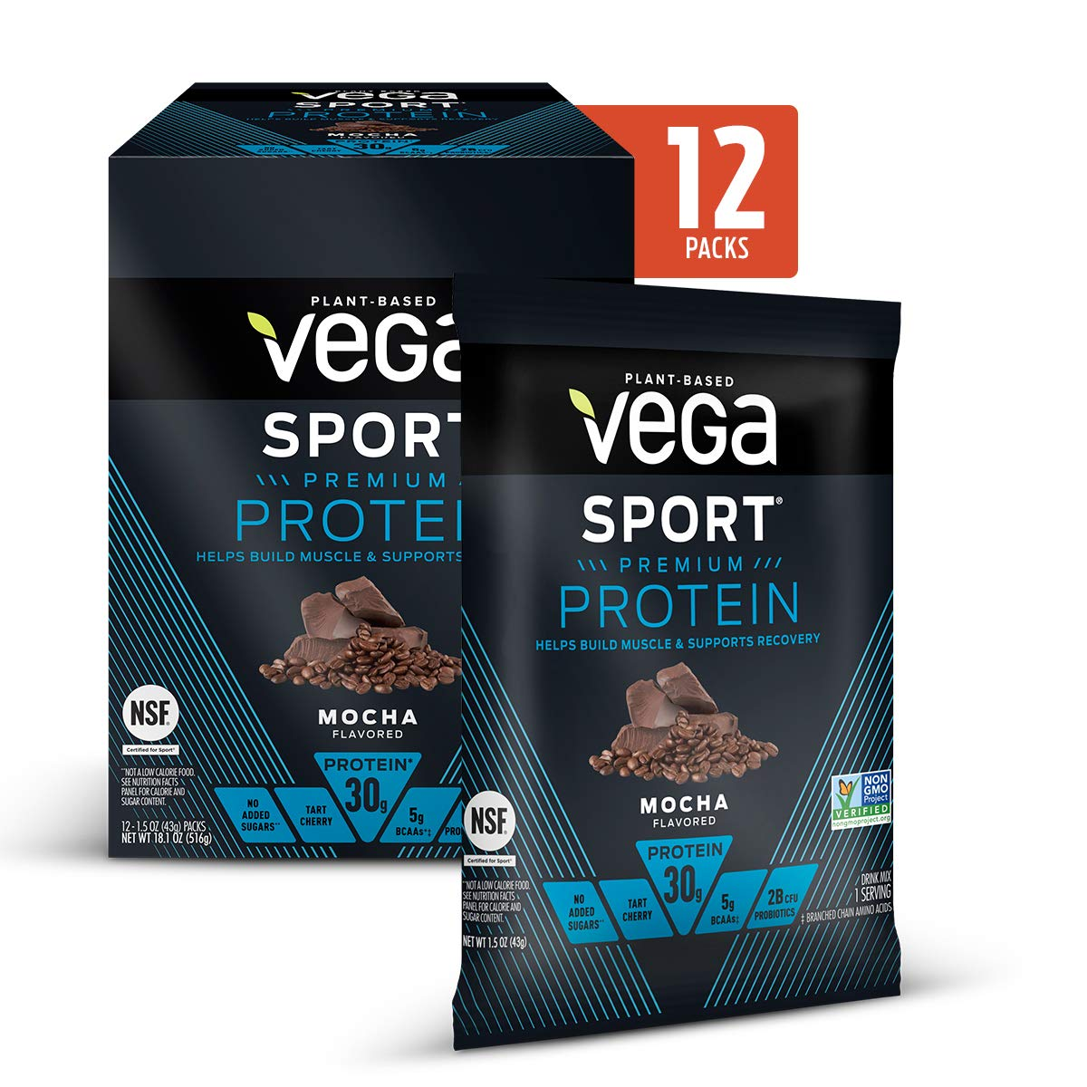 Vega Sport Protein Powder Mocha (12 Count, 18.1 Ounce) - Plant-Based Vegan Protein Powder, BCAAs, Amino Acid, tart cherry, Non Dairy, Keto-Friendly, Gluten Free,  Non GMO (Packaging May Vary)