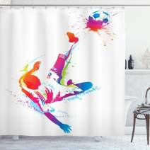 "Ambesonne Soccer Shower Curtain, Soccer Man Kicks The Ball in The Air Watercolors Success Energy Feet Illustration, Cloth Fabric Bathroom Decor Set with Hooks, 75"" Long, White Fuchsia"