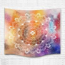 Ombre Mandala Bohemian Wall Blanket Colorful Flower Pattern Bedding Bedspread for Bedroom (Multicolor,84x90inches(213.3x228.6CM)