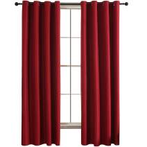 JC JACK&CATHERINE Reversible 100% Blackout Curtains Bicolor Water Repellent Thermal Insulated Grommet Drapes for Nursery, 52 x 95inch, Burgundy and Grey, Set of 2 Panels