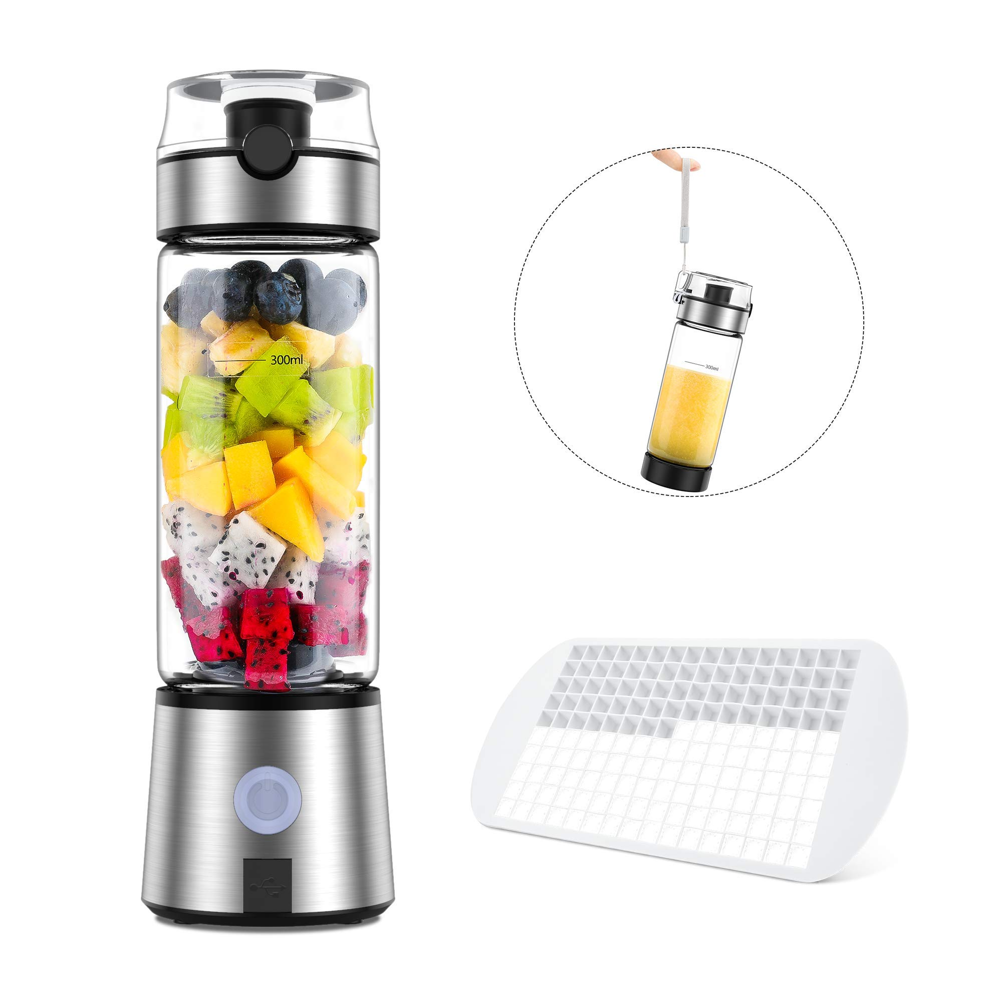 Portable Blender, Ayyie Personal Size Blender, Smoothie Blender USB Rechargeable Shakes and Smoothies Juicer Cup, with 4000mAh USB Batteries, BPA Free, Protein Juice Blender Mixer(SXB01)