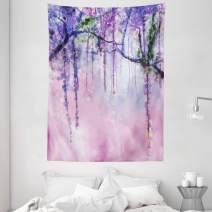 """Ambesonne Watercolor Flower Tapestry, Wisteria Flowers on Blurred Background with Dreamy Colors, Wall Hanging for Bedroom Living Room Dorm, 60"""" X 80"""", Pink Purple"""