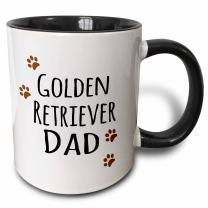 3dRose Golden Retriever Dog Dad Mug, 11 oz, Black