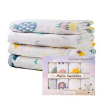 Kid Nation Baby Muslin Swaddle Blanket Unisex Swaddle Wrap Neutral Receiving Blanket Soft Cotton Towel, 47 x 47 Inches, Set of 4