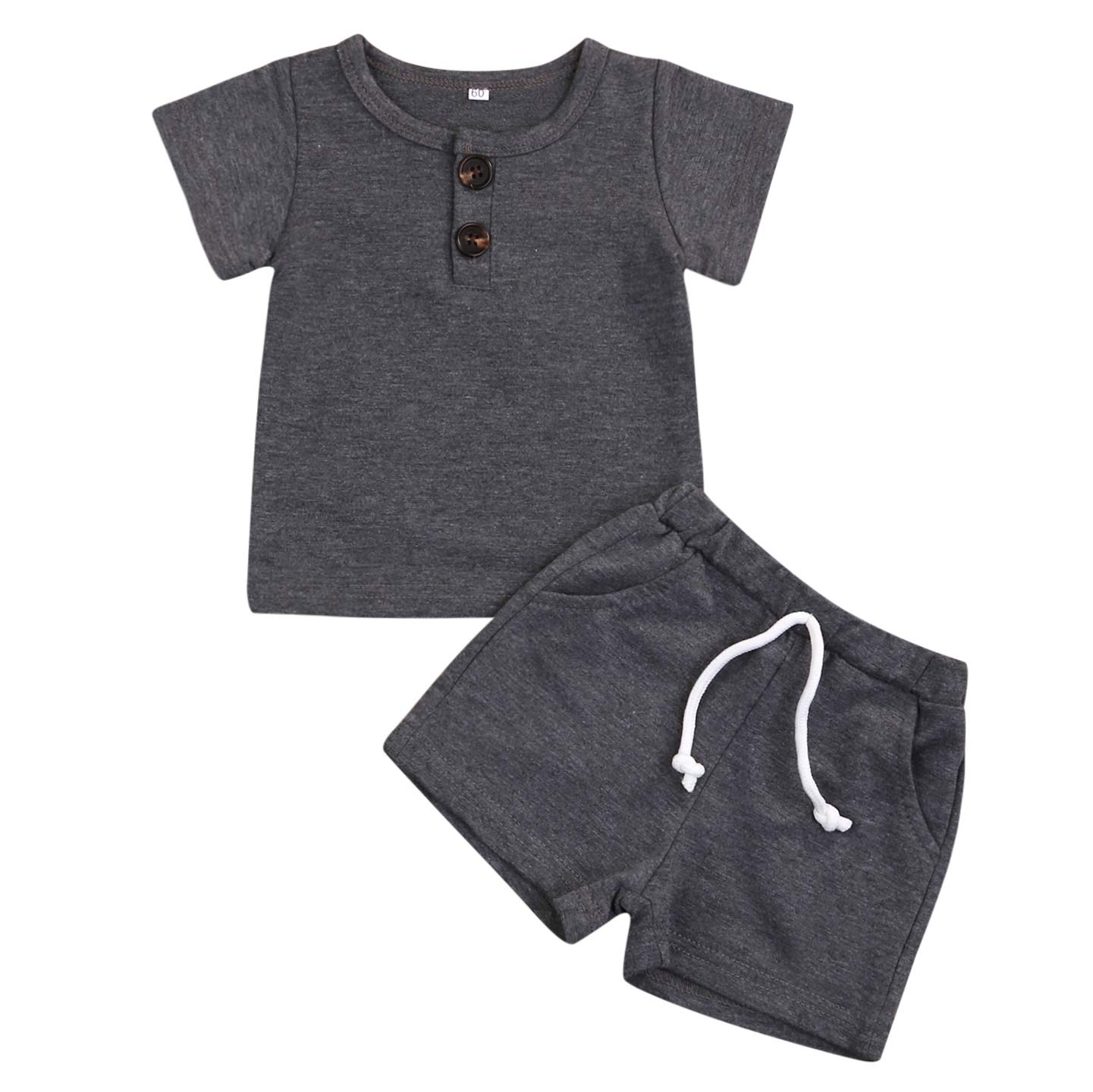 Kids Toddler Infant Baby Boys Girls Summer Shorts Outfits Cotton Button T-Shirt Tops+Short Pants 2Pc Clothes Set