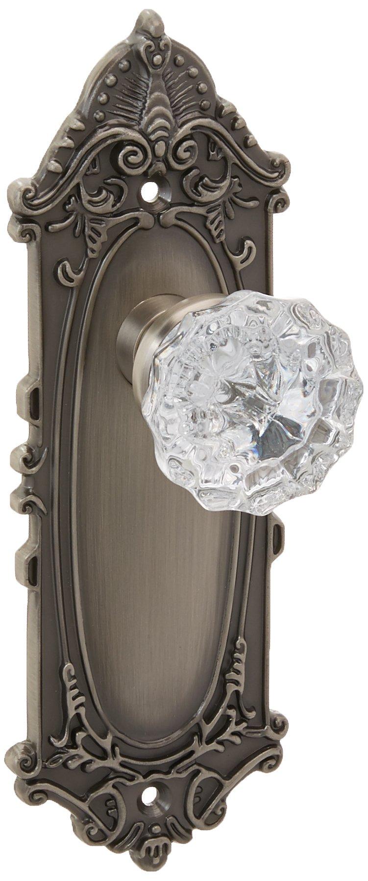 Nostalgic Warehouse Victorian Plate with Keyhole Crystal Glass Knob, Single Dummy, Antique Pewter