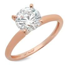 0.95ct Brilliant Round Cut Solitaire Highest Quality Lab Created White Sapphire Ideal VVS1 D 4-Prong Classic Designer Statement Ring in Solid Real 14k Rose Gold for Women