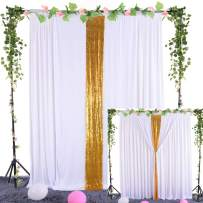 Leegleri White Backdrop Curtains for Baby Shower Parties Wedding Sequin Photo Drape Backdrop with Golden Curtain Tiebacks for Engagement Bridal Shower 5 ft X 7 ft
