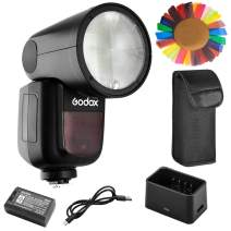 Godox V1-F Flash with Pergear Color Filters for Fuji, 76Ws 2.4G TTL Round Head Flash Speedlight, 1/8000 HSS, 1.5 sec. Recycle Time, 2600mAh Lithium Battery, 10 Level LED Modeling Lamp