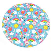 THIRTY THREE ACRES Round Unicorn Blanket - Soft and Cozy Flannel Throw - Ice Cream, Rainbow Design for Adults, Kids, Girls, Babies, Pets - Beach, Bath, Picnic,Travel Body Wrap - Blue, 60 Inch
