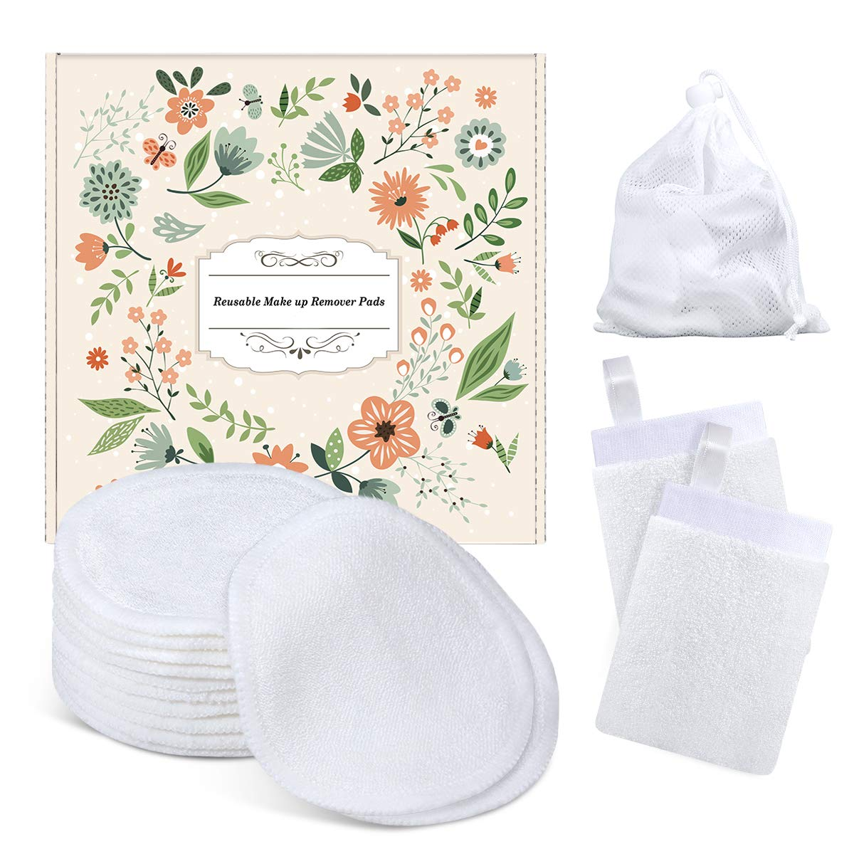 Makeup Remover Pads, Reusable Cotton Pads Face Cleansing Wipes Organic Bamboo Cotton Rounds, Christmas Stocking Stuffers Gift for Women Mom Wife Teen Sister Girl Friend