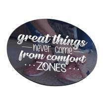 Great Things Never Came from Comfort Zones Mouse Pad, Inspirational Motivational Goal Quote Round Ergonomic Mouse Pad Non-Slip Rubber Material for Office Desk Gaming Home Space Decor - 220mm Diameter