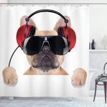 "Ambesonne Popstar Party Shower Curtain, Dj Bulldog with Headphones Listening to Music Behind White Banner, Cloth Fabric Bathroom Decor Set with Hooks, 70"" Long, Light Brown"