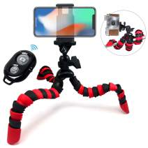 """Acuvar 12"""" Inch Flexible Camera Tripod with Wrapable Disc Legs & Quick Release Plate + Universal Smartphone Mount + Wireless Remote Control for All Smartphones"""