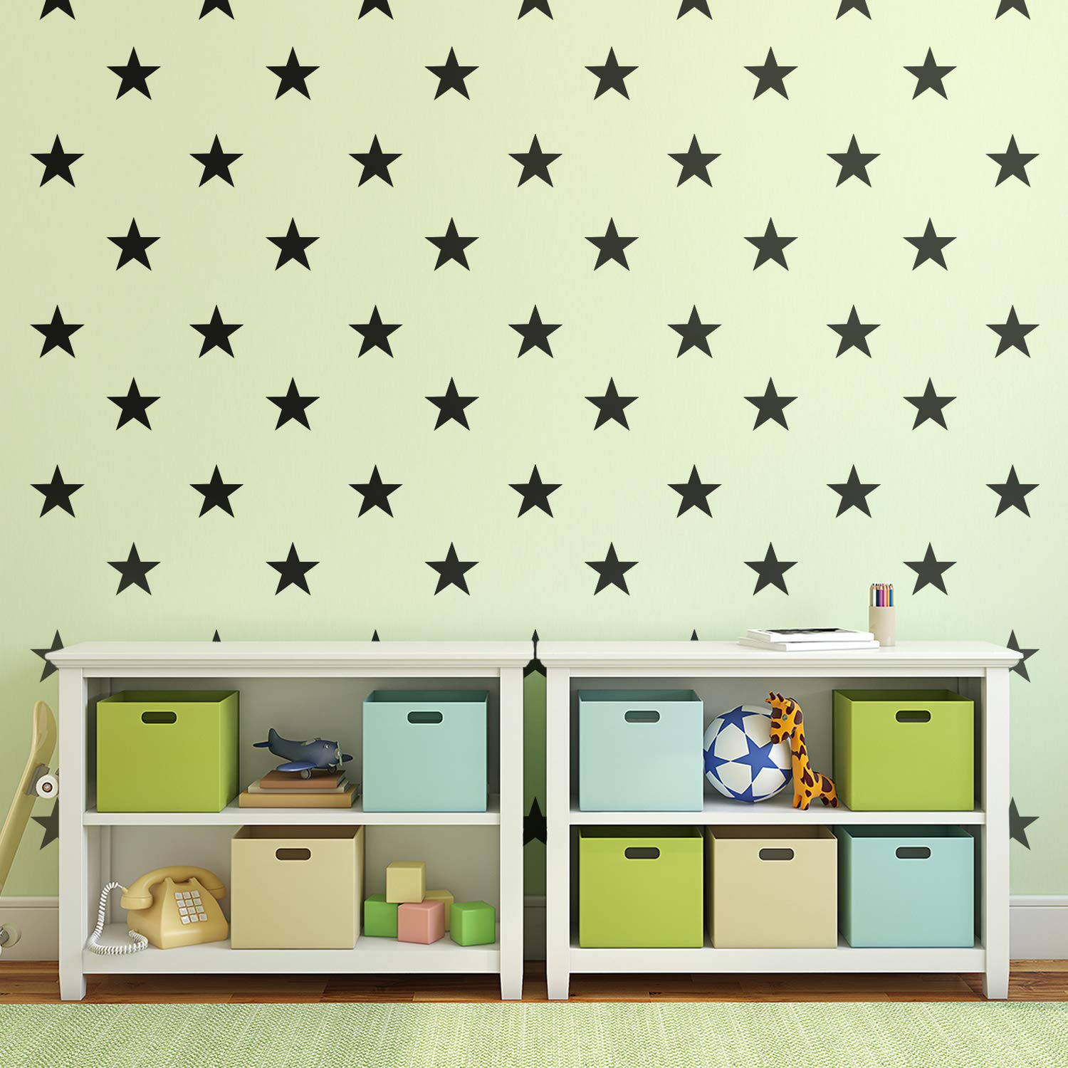 """Set of 20 Vinyl Wall Art Decals - Stars - 5"""" x 5"""" Each - Cute Adhesive Sticker Shapes for Kids Toddlers Teens Bedroom Playroom Nursery Living Room Home Apartment Decorations (Black)"""