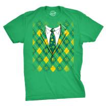Plaid Green Tuxedo T Shirt Funny Irish Shamrock Tee