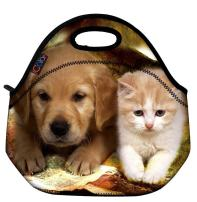 ICOLOR Cute Dog & Cat Thermal Neoprene Waterproof Kids Insulated Lunch Portable Carry Tote Picnic Storage Bag Lunch box Food Bag Gourmet Handbag For School work Office FLB-001