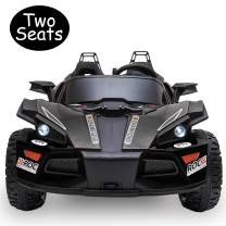 Uenjoy 2 Seats Kids Car 12V Ride On Racer Cars Battery Operated Electric Cars w/ 2.4G Remote Control,Spring Suspension Wheels,3 Speeds,LED Lights,Music,Bluetooth,AUX Cord,USB Port,Car Key,Black