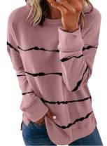 Biucly Womens Casual Crewneck Tie Dye Sweatshirt Striped Printed Loose Soft Long Sleeve Pullover Tops Shirts