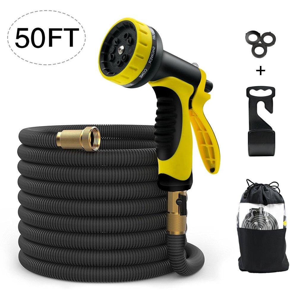 ERAY Expandable Garden Hose Pipe 50 Feet- No-Kink Flexible Water Hoses Hosepipe, Extra Strength Triple Latex Inner Tube/ 9 Function Spray Nozzle/Storage Bag, Black