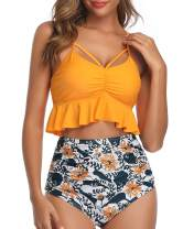 Tempt Me Women Two Piece High Waisted Ruffled Swimsuit Strap Ruched Bikini Set