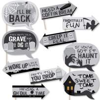 Big Dot of Happiness Funny Graveyard Tombstones - Halloween Party Photo Booth Props Kit - 10 Piece