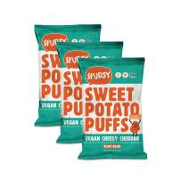 Spudsy Cheesy Cheddar Sweet Potato Puffs   3 Pack   4 oz Bags   Vegan, Gluten Free, Kosher, Allergen Free, Plant Based   Made With Upcycled Sweet Potatoes   Antioxidant Superfood   Clean + Sustainable