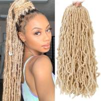 New Faux locs 18 inch 6 Packs Goddess Faux Locs Curly Wavy Crochet Synthetic Braiding Hair Extensions Dreads Crochet Hair 18 inches (18 inch, 613#)