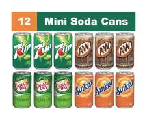 Mini Soda Cans Variety Mix, 12 Pack of 7.5 Fl Oz Soft Drinks, A&W Root Beer, Canada Dry Ginger Ale, Sunkist Orange Soda, & 7Up Lemon Lime Flavored Drink, Real Assorted Home Fridge Restock Kit
